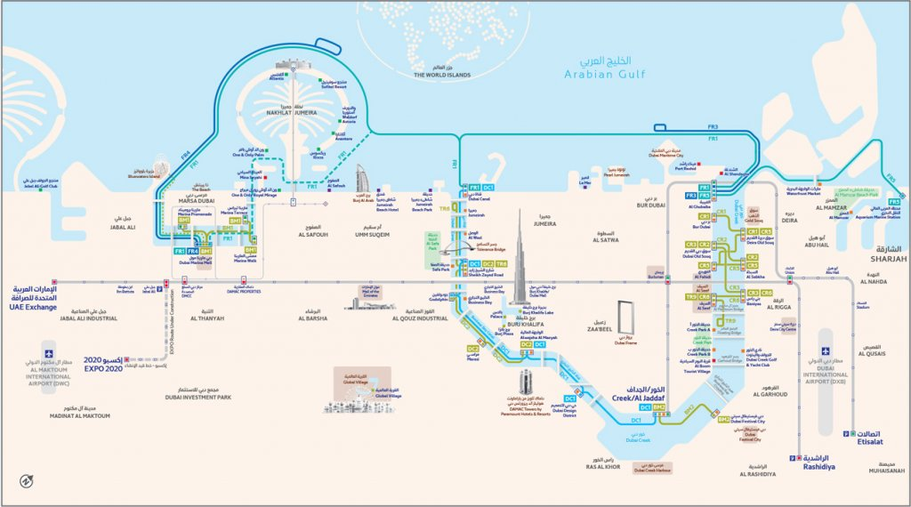 latest Dubai Ferry map issed by the RTA 2020