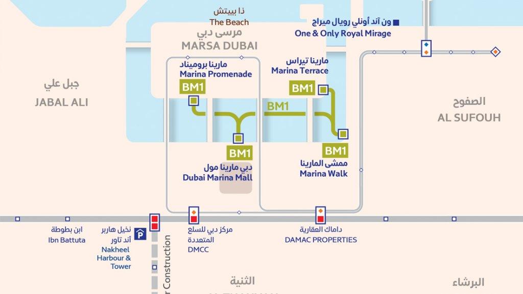 Map of the Dubai Marina Water Bus