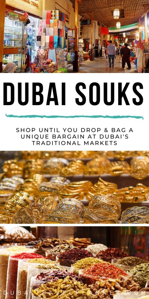 Dubai Souks - collage of images from the various traditional souks in Dubai